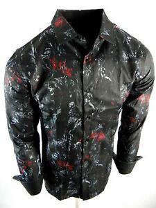 Mens Shirt Black Italian Style Marble Color Florals Slim Fit Button Front