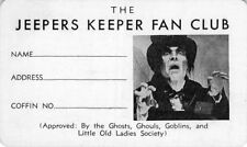 Fred Stuthman personal Jeepers Keeper vampire Fan Club card from early 1960's