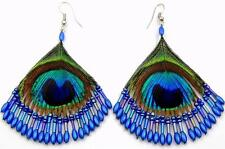 Hand Beaded Peacock Feather Pendant Blue Beads Dangle earrings Jewelry BA330