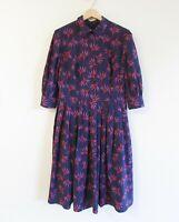 eShakti Size L (12-14) Blue Floral High Neckline Collared 3/4 Sleeve Dress