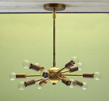 Antique Brass Mid Century 12 Arms Sputnik chandelier starburst light Fixture