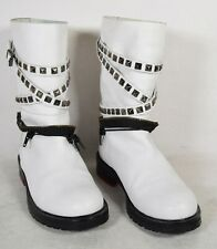 AF Vandevorst Afriend Boots White Studded Zip Motorcycle 36 Womens Italy