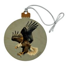 Screaming Bald Eagle Diving Catching Prey Wood Christmas Tree Holiday Ornament