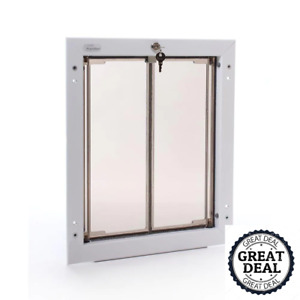 """Wall Mount Dog Door Requires No Replacement Flap Large White  11.75"""" X 16"""""""