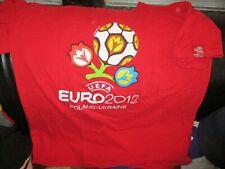 Red UEFA EURO 2012 Poland & Ukraine Logo T Shirt XL Football Soccer