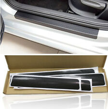 4 Pcs 3D Carbon Fiber Style Auto Car Door Sill Threshold Sticker Anti-scratch