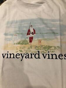 Vineyard Vines Men's Long Sleeve Pocket Tee T-Shirt Santa Christmas SMALL $48