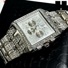 MEN'S HIP HOP ICED OUT BLING CUBIC ZIRCONIA CZ SILVER GENEVA WRIST WATCH #G9170S