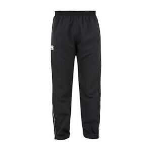 CANTERBURY MENS RUGBY TRACKSUIT BOTTOMS.BLACK WATER RESISTANT ZIPPED TRACK PANTS