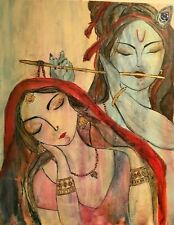 Original acrylic art painting -Radha Krishna :  Eternal love and devotion