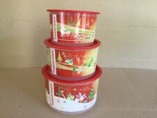 Tupperware Round CHRISTMAS CANISTER SET X 3 Very Good Used Condition