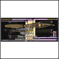 Fridge Fun Refrigerator Magnet STAR TREK USS EXCALIBUR Starship LCARS Schematic
