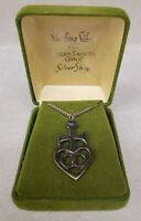 Vintage Terra Sancta Guild Cross Heart Necklace Sterling - TSG Original Box