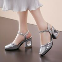 49d86c389e2 UK Women Block High Heel Mary Jane Patent Leather Shoes Ankle Strap Sandals  Pump