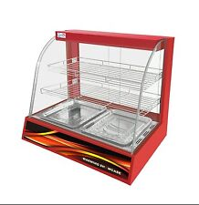 New Counter Top Heated Pie Display Curved Glass Hot Food Cabinet Warmer