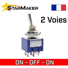Interrupteur à levier 2 circuits 3 positions ON - OFF - ON inverseur 6mm MTS-203