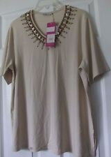 Euro Apricote brand XL top, Beige color, Poly-rayon-spandex, compares to Chico's