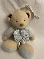 Pram / Cot Toy Musical Bear Super Soft Pale Blue Gingham Material