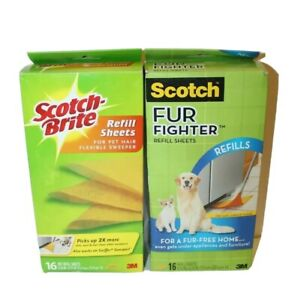 Lot of 2 New Scotch Brite Fur Fighter for Pet Hair Floor Sweeper Refill 16ct x2