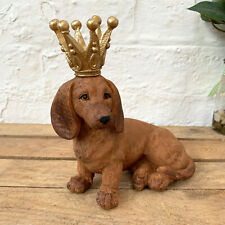 Vintage Brown Daschund Dog King Crown Pet Animal Resin Sculpture Figure Ornament