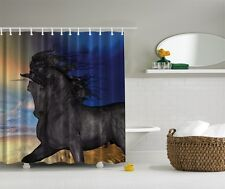 Majestic Unicorn On Sand Graphic Shower Curtain Horse Western Beach Bath Decor