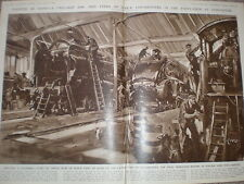 The LNER Locomotive train engine paint shop at Doncaster 1947 old print