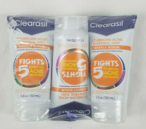 3 Pack Clearasil Stubborn Acne Control 5 in 1 Weekly Scrub 5 oz each EXP 06/21