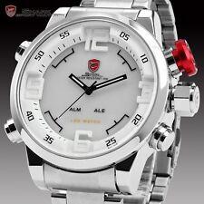 SHARK LED Day Date Alarm Dual White Dial Analog Men's Sport Watch