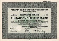 Altena er Gemeinnützige Baugesellschaft historische Aktie 1941 Märkischer Kreis