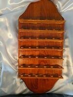Vintage Wood Thimble Display Holder Rack Wall Mount Hanging Holds 42 Thimbles