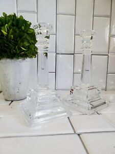 Lot of 2 Medium Weight Clear Glass Tiered Stemmed Tapered Candle Holders