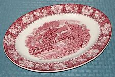 """Wood & Sons England Ironstone Pink Colonial 12"""" x 9"""" Oval Serving Platter - VGD"""