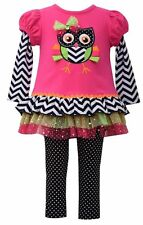 NWT Bonnie Jean Girl 4 Fall SCHOOL Clothes FUCHSIA Owl Dress Leggings Set