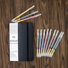 Bullet Journal Kit A5 Black Leather Dot Grid Journal With 12 Color Brush Pens