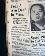PHILADELPHIA MS Civil Rights Workers w/ James Chaney GOES MISSING 1964 Newspaper