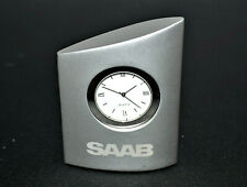 SAAB Desk Clock Auto Clock Silver Grey Case Small Heavy Duty Quartz SAAB Gift