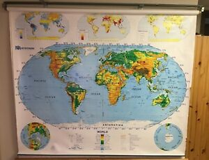 1990's Nystrom 1SR991 2-layer World USA Pulldown Topographical Classroom Map