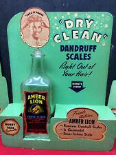 1940's Amber Lion Dandruff Shampoo Advertising Display Sign