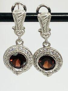 Judith Ripka Earrings Sterling Silver CZ Garnet BROKEN POST Need REPAIR