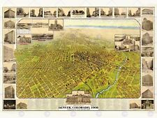 Mappa Denver Colorado 1908 VINTAGE 12 x 16 cm art print poster foto hp2196