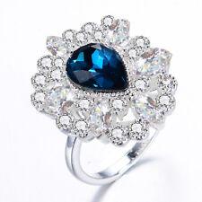 Fashion Blue Sapphire Birthstone Silver Filled Wedding Bridal Ring Gift Size 7