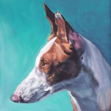 smooth Ibizan Hound portrait canvas PRINT of LA Shepard dog painting 12x12""