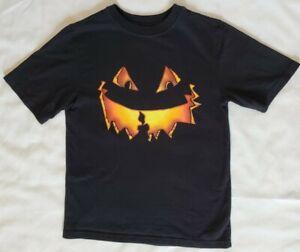 Black Orange Jack O' Lantern Pumpkin Face Halloween Kids T-Shirt Sz L (10-12)