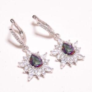 "Rainbow Mystic Topaz & White Topaz 925 Sterling Silver Earring 1.5"" S1988"
