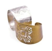 Egyptian Slave Brass Cuff Gold Wide Metal Ethnic Gauntlet Filigree Bracelet
