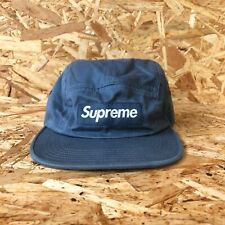 DS FW16 Supreme Washed Chino Twill camp cap box logo 5 panel slate leather strap