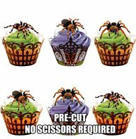 PRE-CUT Tarantula Spiders Edible Cup Cake Toppers Decorations Halloween Birthday