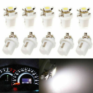 10PCS T5 B8.5D 5050 1SMD Car LED Dashboard Gauge Instrument Light Bulb White