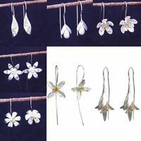 Silver Plated Dangle Drop Earrings Ear Hook Solid Flower Women's Jewelry Gifts
