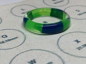 Bright Green & Blue Plastic Ring (Stripes) Size R